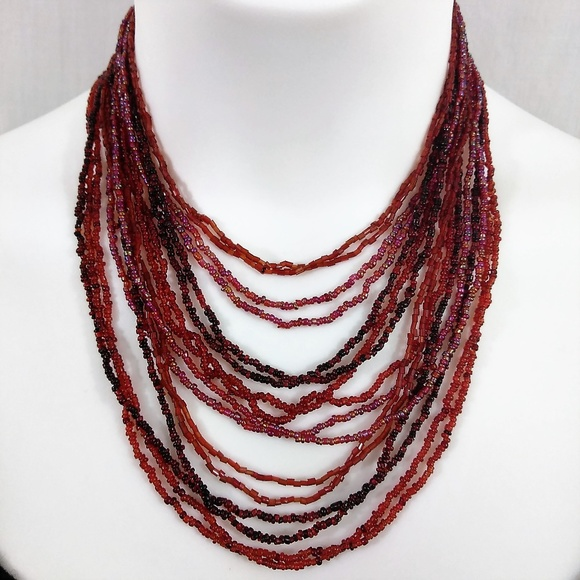 Unbranded Jewelry - 16 Strand Red Seed Bead Boho Necklace